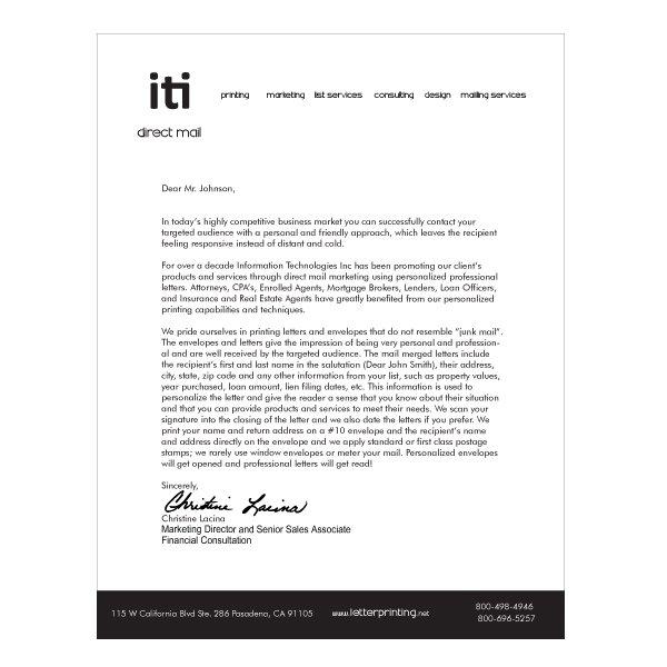 letterhead design simple b w iti direct mail